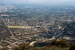 Aerial View of the City of Claremont, Ontario, Upland, Rancho Cucamonga, Montclair, and Pomona from Potato Mountain, Mount Baldy royalty free stock image