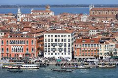 Aerial view of the city, coastal boulevard, water transport, Venice, Italy Royalty Free Stock Photo