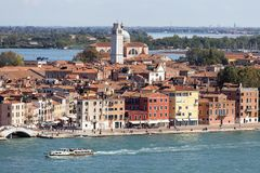 Aerial view of the city, coastal boulevards, water transport, Venice, Italy Stock Photo