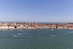 Aerial view of the city, coastal boulevards, water transport, Venice, Italy Royalty Free Stock Photo