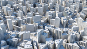Aerial view on the city concept. 3d rendering Royalty Free Stock Images