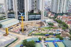 Aerial view of city construction site. Hanoi cityscape.  royalty free stock photo