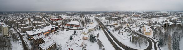 Aerial view of the city covered with snow. Panorama. Aerial panorama of the city covered with snow. Winter lndscape Royalty Free Stock Photography