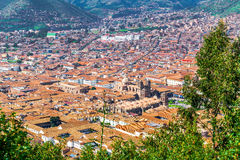 Aerial view of the city of Cusco Stock Photo