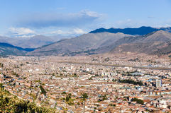 Aerial view of the city in Cusco, Peru Stock Photos