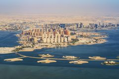 Aerial view of city Doha, capital of Qatar royalty free stock photography
