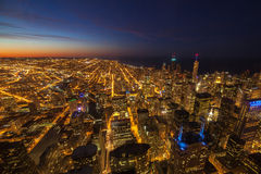 Aerial View of City Downtown twilight Royalty Free Stock Photography