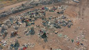 Aerial view. City dump concept. Environmental pollution. Plastic bottles, bags, trash. Nature polluted from activities. Of irresponsible people stock video
