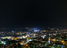 Aerial View of City Durinig Nighttime Royalty Free Stock Photo