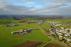 Aerial view of a city and farm fields Stock Photography