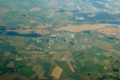 Aerial view - city, fields and river Royalty Free Stock Photos