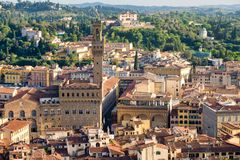 Aerial view of the city of Florence including the Palazzo Vecchio. And the nearby tuscan hills Stock Image