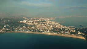 Aerial view of city of Gaeta and the Serapo Beach, Italy royalty free stock image