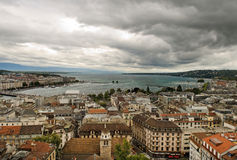 Aerial view of city of Geneva Royalty Free Stock Photos