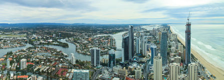 Aerial view of city at Gold Coast Stock Images
