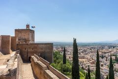 Aerial view of the city of Granada, Albaycin , viewed from the A royalty free stock image