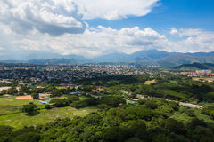 Aerial view of the city and the green park. Venezuela Royalty Free Stock Images