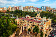 Aerial view of City Hall in Malaga Royalty Free Stock Images