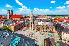 Aerial view of the City Hall at the Marienplatz in Munich, Germany. Scenic summer aerial view of the ancient medieval gothic architecture City Hall building at royalty free stock photo
