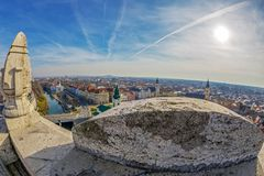 Aerial view from the city hall tower over Oradea town center Stock Image