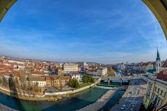Aerial view from the city hall tower over Oradea town center. Aerial view from the city hall tower over Oradea town with historic buildings, Crisul Repede and Stock Image