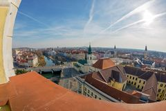 Aerial view from the city hall tower over Oradea town center. Aerial view from the city hall tower over Oradea town with historic buildings, Crisul Repede and Royalty Free Stock Photo