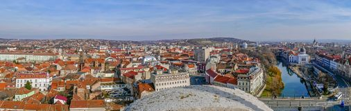 Aerial view from the city hall tower over Oradea town center Royalty Free Stock Images