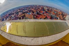 Aerial view from the city hall tower over Oradea town center. Aerial view from the city hall tower over Oradea town with historic buildings, Crisul Repede and Royalty Free Stock Photos