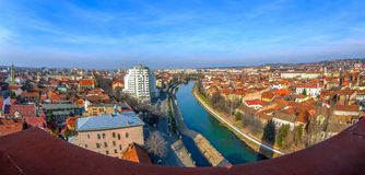 Aerial view from the city hall tower over Oradea town royalty free stock image