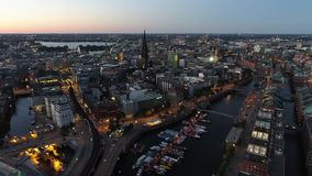 Beautyful aerial view of city of Hamburg at / after sunset. Hafencity, Germany. stock video