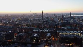 Beautyful aerial view of city of Hamburg at / after sunset. Hafencity, Germany. stock footage