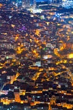 Aerial view of the city with houses at night time Royalty Free Stock Photography