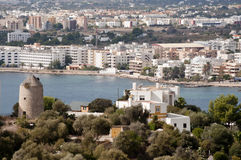 Aerial view of the city of Ibiza. Panoramic view of the coast of Ibiza and the fortress overlooking the city royalty free stock image