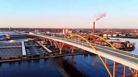 Aerial view of city. Industrial cityscape. Milwaukee, Wisconsin, USA. Industrial pollution, emissions. Aerial view of city at dawn. Industrial cityscape stock images