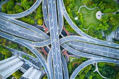 Aerial view of city interchange royalty free stock images