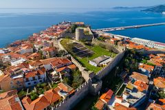 Aerial view the city of Kavala in northern Greek, ancient aquedu Royalty Free Stock Photo