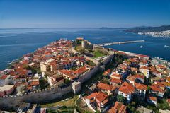 Aerial view the city of Kavala in northern Greek, ancient aquedu Stock Image