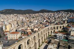 Aerial view the city of Kavala in northern Greek, ancient aquedu Stock Photo