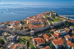 Aerial view the city of Kavala in northern Greek, ancient aquedu Royalty Free Stock Photos