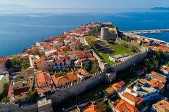 Aerial view the city of Kavala in northern Greek, ancient aquedu Royalty Free Stock Image