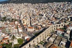 Aerial view the city of Kavala in northern Greek, ancient aquedu Royalty Free Stock Images