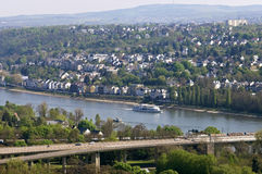 Aerial view of the city Koblenz and River Rhine Stock Photography