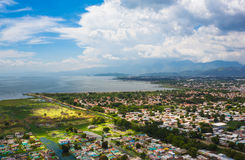 Aerial view of the city and lake. Stock Photography