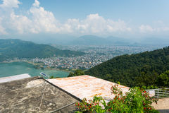 Aerial view of city with lake waterfront. Pokhara, Nepal Royalty Free Stock Photo