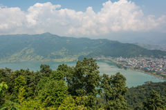 Aerial view of city with lake waterfront. Pokhara, Nepal Stock Image