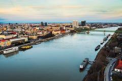 Aerial view of the city landmarks in the capital of Slovak Republic, Bratislava. Bratislava, Slovakia. Aerial view of the city landmarks in the capital of Slovak Stock Photos
