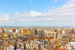 Aerial view on city landmarks of Valencia, Spain. Royalty Free Stock Images