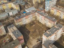 Aerial view of city landscape from above. Outdoor cityscape. Dnepr, Dnepropetrovsk, Dnipropetrovsk. Ukraine stock images