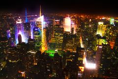 City Lit Up At Night. Aerial View Of City Lit Up At Night Royalty Free Stock Image