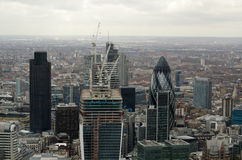 Aerial View, City of London. View from a tall building of the City of London financial district Royalty Free Stock Photography
